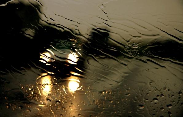 Картинка дорога, стекло, вода, капли, ночь, дождь, ливень, потоки