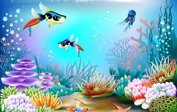 Фото обои рыбы, пузырьки, вектор, кораллы, подводный мир