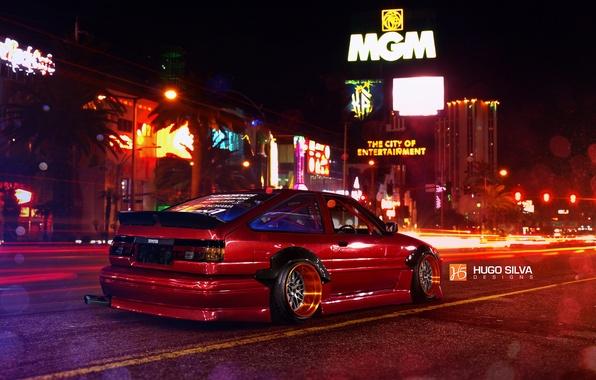 Картинка Red, Toyota, Las Vegas, AE86, Stance, Wheels, Corolla, Rear, Nigth, by Hugo Silva
