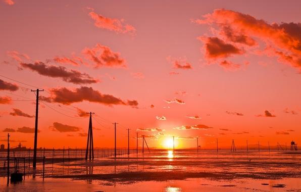 Фото обои Kutsuma Beach, облака, закат