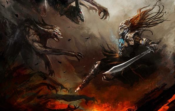 Картинка оружие, меч, воин, арт, монстры, доспех