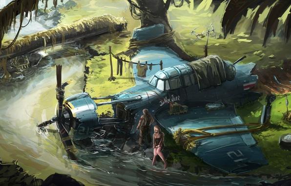 Картинка самолет, река, заросли, крушение, остов, арт, двое