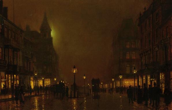 Картинка свет, ночь, город, люди, улица, дома, картина, фонари, мостовая, витрины, кареты, Джон Эткинсон Гримшоу