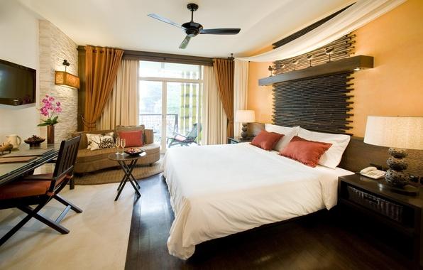 Картинка цветы, комната, диван, кровать, подушки, телевизор, окно, постель, светильник, ваза, столик