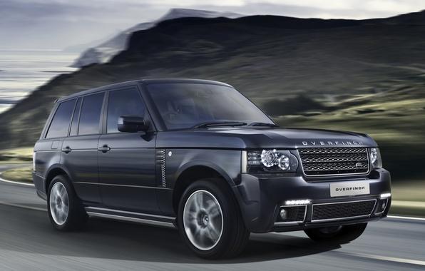 Картинка дорога, горы, джип, внедорожник, Land Rover, Range Rover, передок, Ленд Ровер, Ренж Ровер, Вог, Overfinch, …