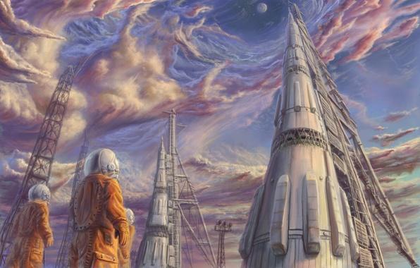 Картинка небо, звезды, облака, ракета, космонавты, космодром