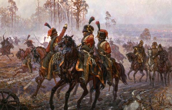 """Картинка масло, картина, холст, Александр, Аверьянов, Отечественная война, """"Под Городней. 13(25) октября 1812г."""