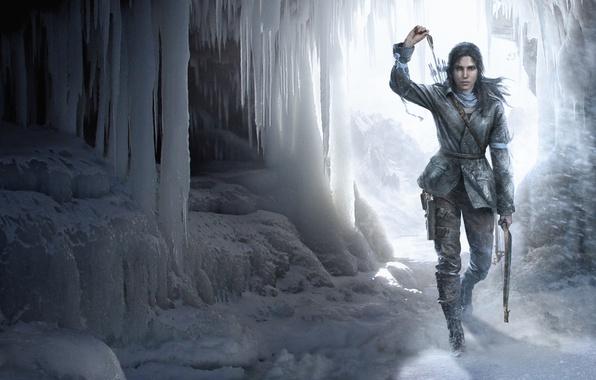 Картинка девушка, снег, лук, пещера, Лара Крофт, стрелы, Square Enix, Lara Croft, Crystal Dynamics, Eidos Montréal, …