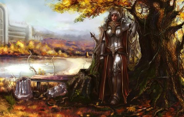 Картинка осень, листья, девушка, скамейка, поза, пруд, дерево, доспехи, Warhammer, Sisters of Battle