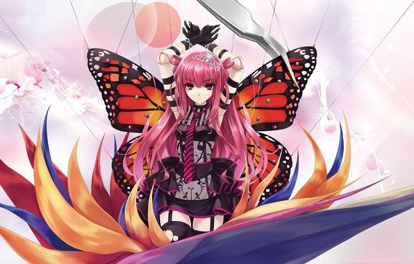 Картинка цветок, девушка, бабочка, крылья, кукла, арт, диадема, нити, пинцет, misaki kurehito, розовые волосы, булавки, ameto, …