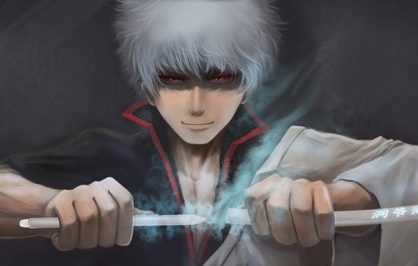 Картинка меч, парень, anime, art, Gintama, Gintoki Sakata