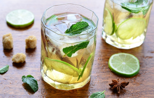 Картинка лед, лайм, напиток, мята, лимонад