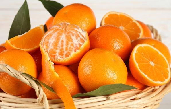 Картинка корзина, апельсины, фрукты, цитрусы, fruit, кожура, citrus, oranges