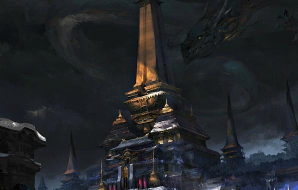 Картинка фантастика, дракон, арт, храм