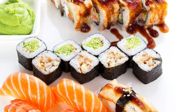 Картинка рыба, рис, rolls, sushi, суши, fish, роллы, морепродукты, японская кухня, seafood