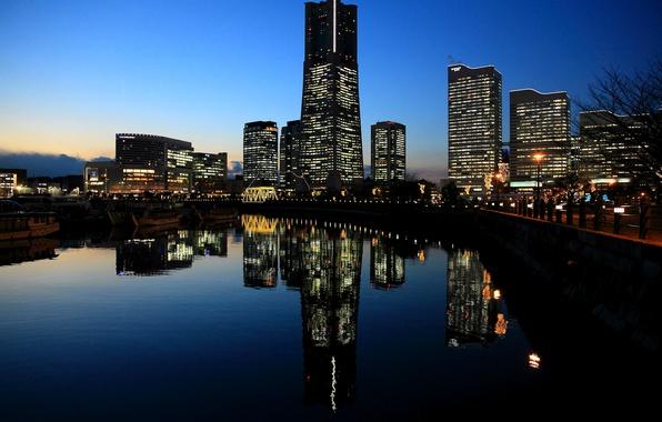 Картинка закат, огни, отражение, вечер, Япония, подсветка, порт, залив, Japan, мегаполис, Йокогама, Yokohama