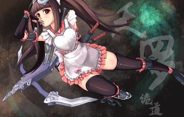 Картинка взгляд, девушка, оружие, мечи, art, арбалет, shou mai, akimbo kimochi