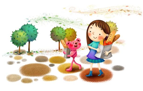 Картинка деревья, улыбка, парк, ветер, рисунок, хлеб, девочка, фрукты, сапожки, зверёк
