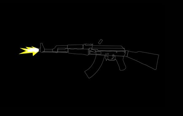 Картинка оружие, выстрел, автомат, калаш