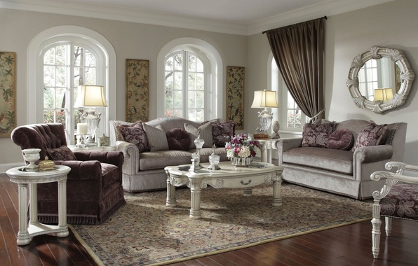 Картинка цветы, дизайн, стиль, диван, подушки, зеркало, окно, столик, гостиная