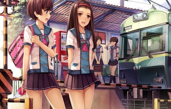 Фото обои небо, радость, девушки, поезд, аниме, арт, форма, школьницы, yokaze japan, о облака