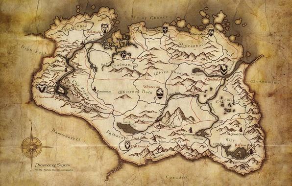 Картинка бумага, карта, старая, skyrim, the elder scrolls v