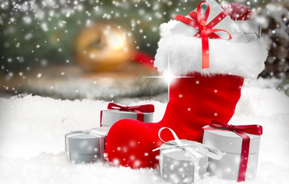 Картинка зима, снег, Новый Год, Рождество, Christmas, winter, snow, decoration, gifts, Merry