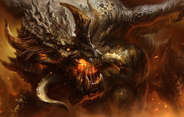 Картинка огонь, пламя, дракон, клыки, рога, art