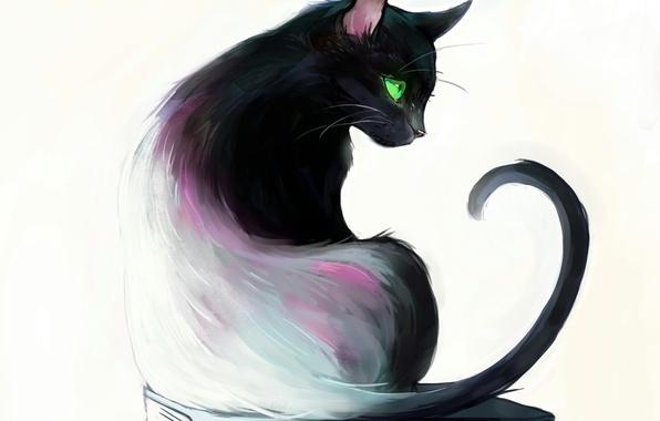 Картинка глаза, кот, книги, зеленые, сидит, cat, art, Picolo-kun