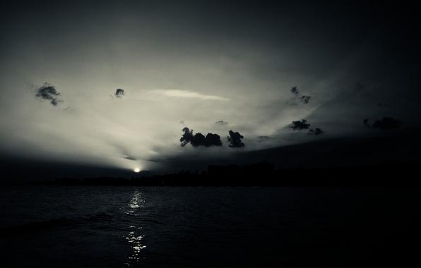 Картинка море, небо, вода, солнце, облака, закат, природа, отражение, тень, sky, sea, nature, sunset, water, 1920x1200, …