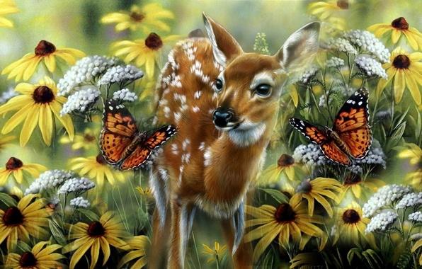 Картинка лето, бабочка, малыш, луг, арт, оленёнок, Rebecca Latham