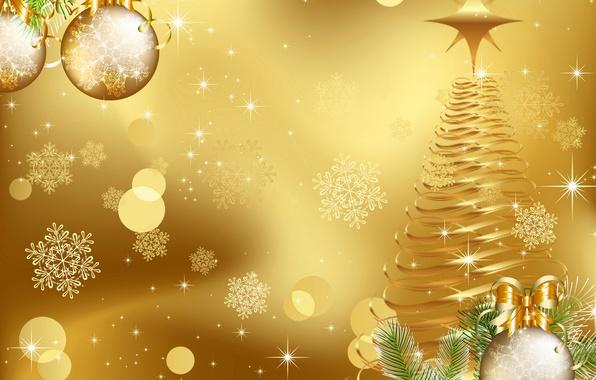 Картинка шарики, снежинки, шары, графика, елка, Рождество, Новый год, ёлка