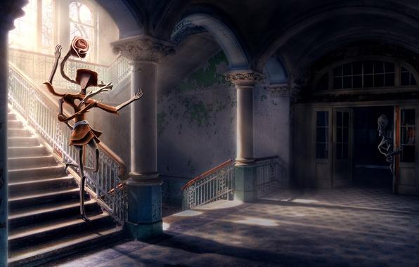 Картинка цветок, свет, любовь, окна, лестница, колонны, влюблённость, абстрактный парень, Абстрактная девушка