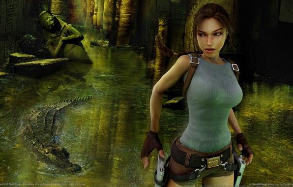 Картинка девушка, оружие, крокодил, fire, guns, girl, руины, Лара Крофт, статуи, ruins, game wallpapers, Расхитительница гробниц, …