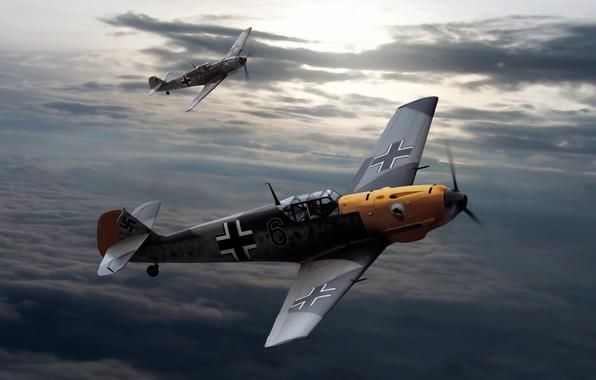 Картинка небо, облака, рисунок, Messerschmitt, самолёты, Вторая мировая война, Bf.109, Мессершмитты