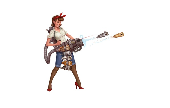 Картинка девушка, фон, арт, прикол, art, catgun, котомет, кискострел