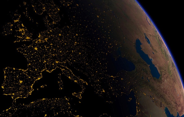 Картинка космос, ночь, огни, темнота, земля, планета, италия