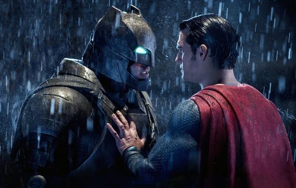 Картинка фантастика, дождь, костюм, шлем, Batman, Бен Аффлек, комикс, Superman, Clark Kent, Bruce Wayne, Henry Cavill, …