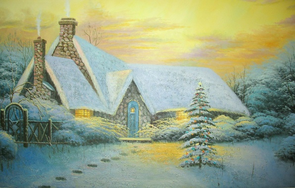 Картинка зима, снег, следы, забор, картина, ёлка, Живопись, коттедж, Томас Кинкейд, picture, Thomas Kinkade, Christmas Tree …