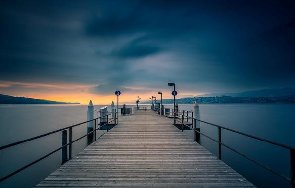 Картинка вода, закат, мост, природа, река, фон, обои, вечер, красиво, пирс, wallpaper, широкоформатные, background, полноэкранные, HD …
