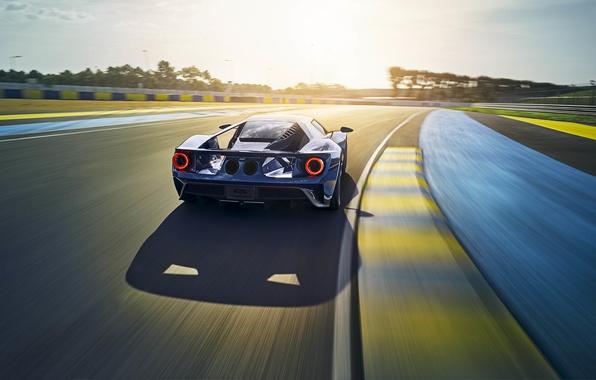 Картинка car, авто, Ford, вид сзади, speed, track