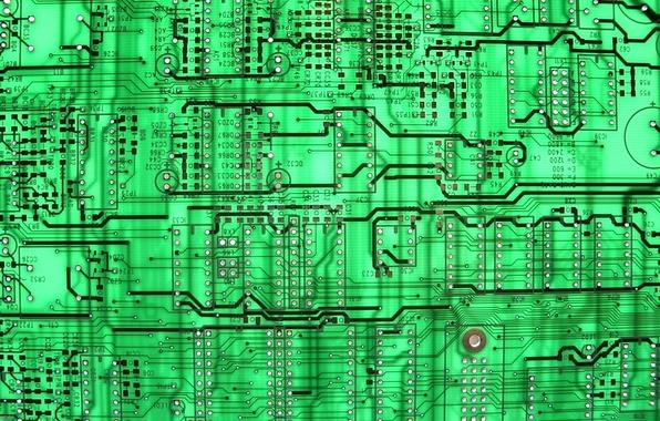 Картинка green, background, circuit board