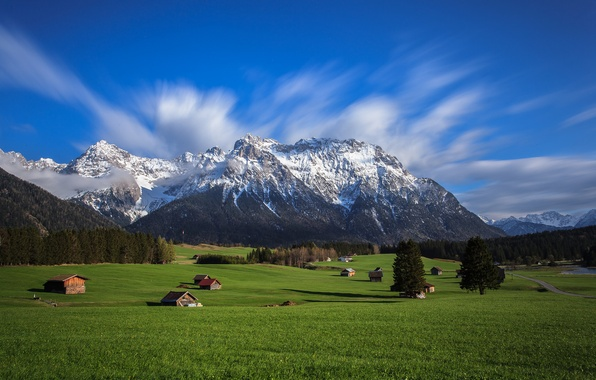 Картинка небо, трава, деревья, горы, дома, долина, Альпы