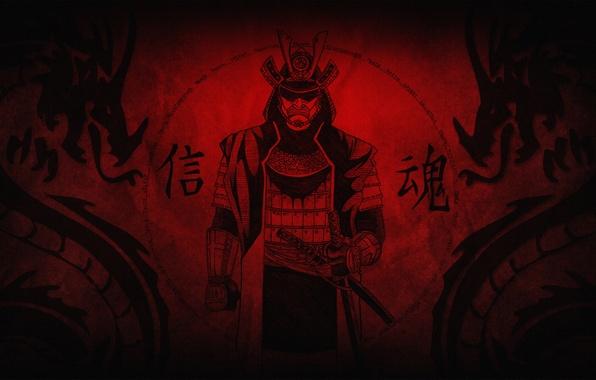 Картинка pattern, Samurai, warrior, helmet, fabric