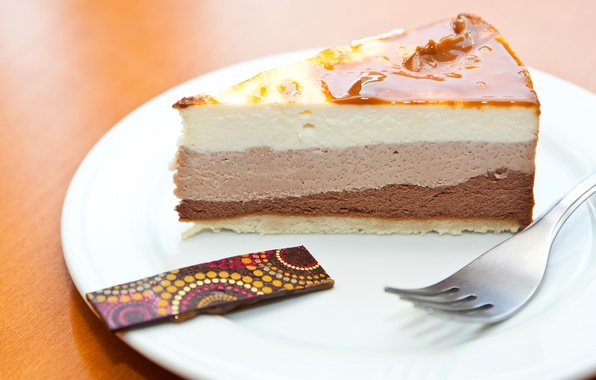 Картинка тарелка, торт, пирожное, вилка, крем, десерт, сладкое, карамель, кусочек