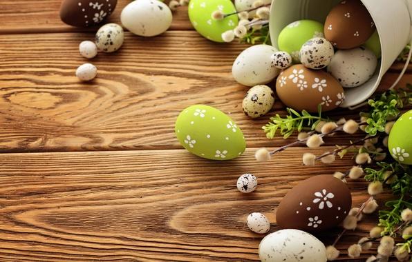 Картинка яйца, Пасха, верба, flowers, spring, Easter, eggs