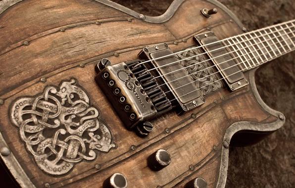 Картинка узор, гитара, струны, корпус, электрогитара, резьба