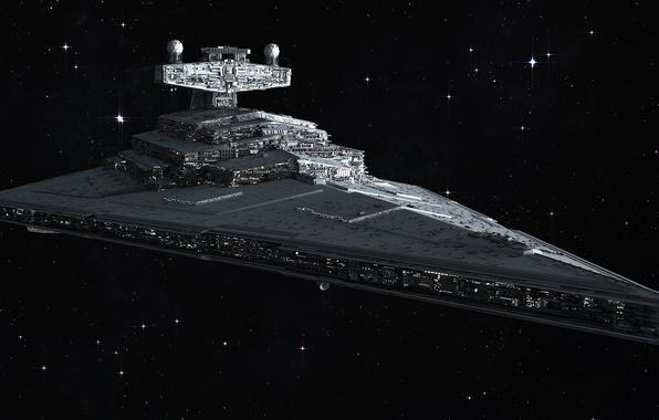 Картинка космос, звезды, Star Wars, Звездные войны, Star Destroyer, Имперский звездный разрушитель