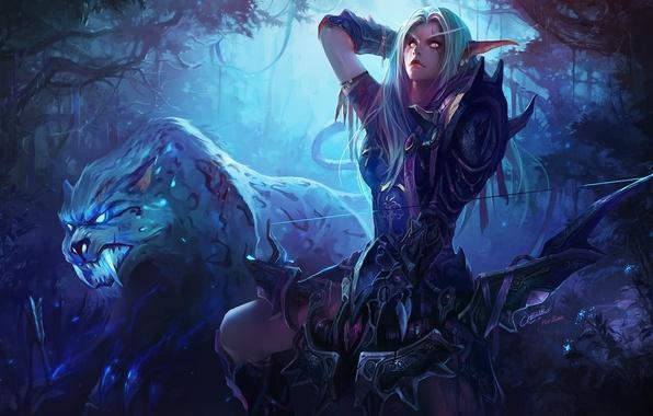 Картинка лес, ночь, тигр, эльф, лук, лучница, арт, клыки, зверь, эльфийка, world of warcraft, chenbo