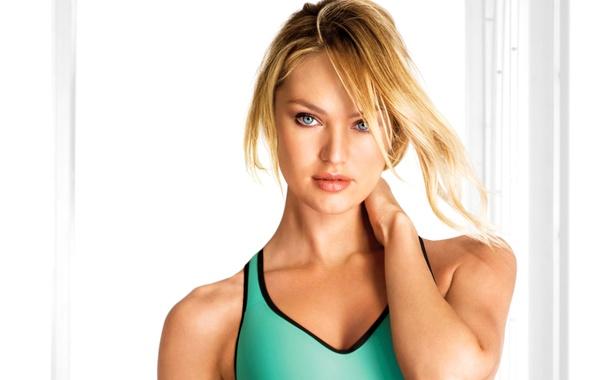 Картинка глаза, девушка, модель, майка, голубые, блондинка, топик, Кэндис Свейнпол, Candice Swanepoel, Victoria's Secret Angel, бирюзовая